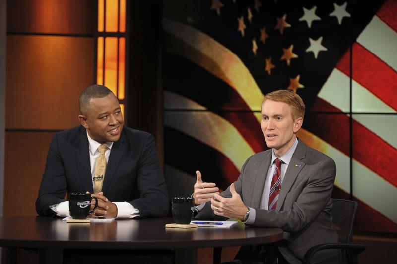 Former Oklahoma House Speaker Shannon and Congressman Lankford participate in the U.S. Senate debate in Tulsa in this file photo