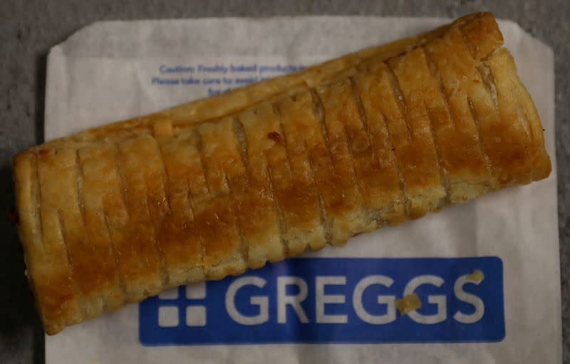 FILE PHOTO: Greggs' vegan sausage roll is pictured in Liverpool