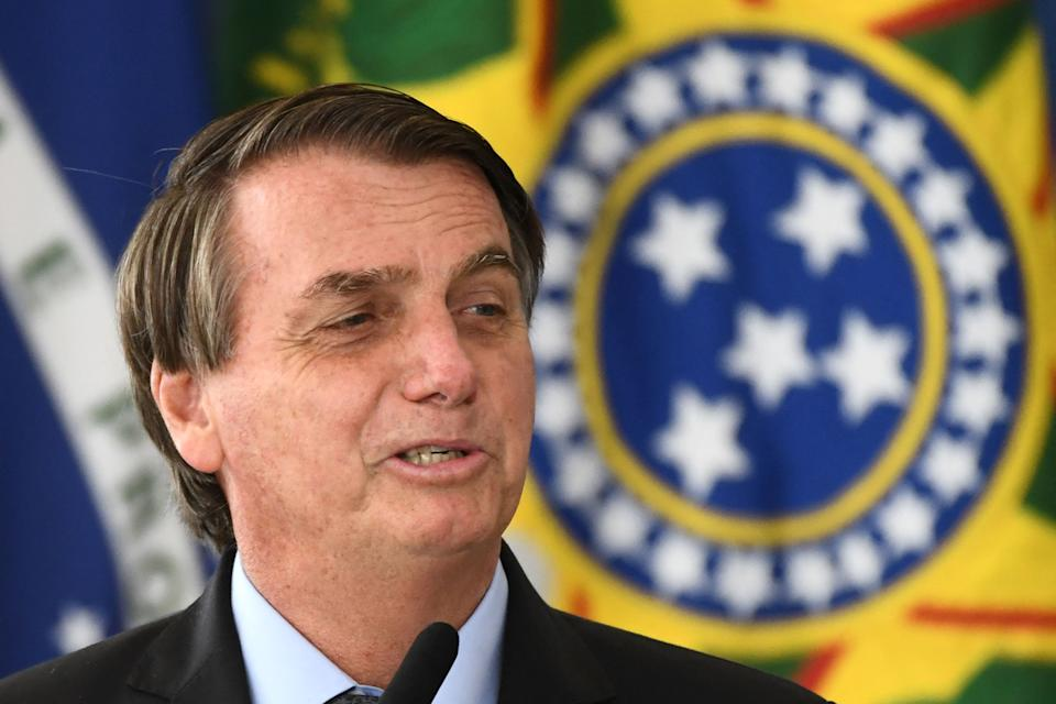 Brazilian President Jair Bolsonaro delivers a speech during the launching of the Brazilian Waters Program in celebration of International Water Day at Planalto Palace in Brasilia, on March 22, 2021. (Photo by EVARISTO SA / AFP) (Photo by EVARISTO SA/AFP via Getty Images)