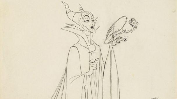 PHOTO: An animation drawing of Maleficent from 'Sleeping Beauty,' Walt Disney Studios, 1959. Made with graphite on paper, matted and framed. Estimate: $500-700. (Walt Disney Studios )