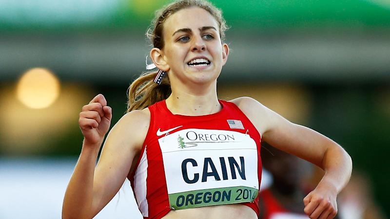 Track star Mary Cain, pictured racing in 2014, says former coach Alberto Salazar subjected her to 'emotional and physical abuse'.