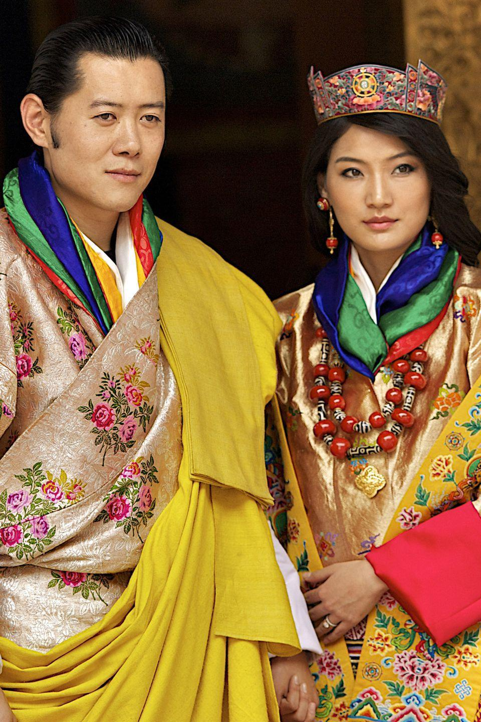 "<p>King Jigme Khesar Namgyel Wangchuck, 39, and his wife Jetsun Pema, 29, first met when she was just 7 years old at a picnic. Although Jetsun Pema is considered a commoner, her family has many connections with the royal family and it's said that at the picnic, she <a href=""http://www.worldofbuzz.com/real-life-cinderella-story/"" rel=""nofollow noopener"" target=""_blank"" data-ylk=""slk:innocently confessed her love"" class=""link rapid-noclick-resp"">innocently confessed her love</a> for the dashing prince. Her childish confession caught the prince's heart and he promised that when she grew up and if they were both single and in love, he would marry her. The two later married in 2011, and gave birth to a son in 2016.</p>"