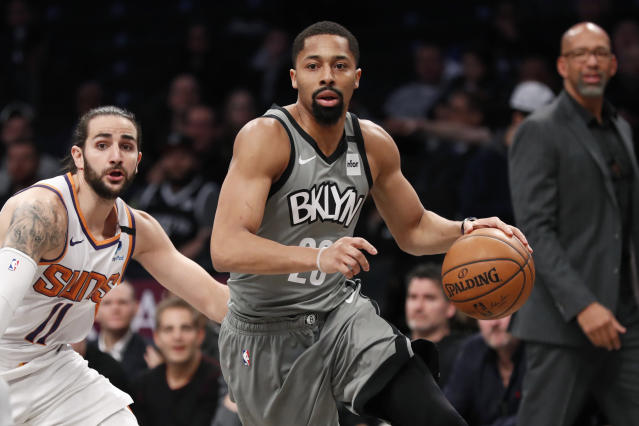 Nets guard Spencer Dinwiddie has the right perspective about the NBA. (AP Photo/Kathy Willens)
