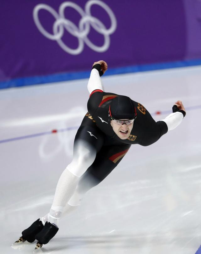 Speed Skating - Pyeongchang 2018 Winter Olympics - Men's 1000m competition finals - Gangneung Oval - Gangneung, South Korea - February 23, 2018 - Joel Dufter of Germany competes. REUTERS/Damir Sagolj