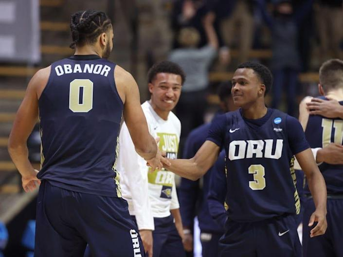 Kevin Obanor #0 and Max Abmas #3 of the Oral Roberts Golden Eagles