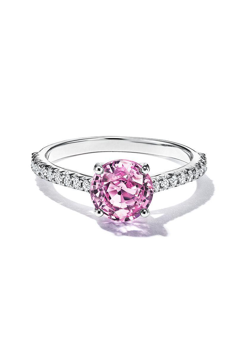 "<p><em><strong>Tiffany & Co. </strong>""Tiffany Novo®"" round pink sapphire engagement ring with a diamond band in platinum, price upon request, <a href=""https://www.tiffany.com/?omcid=ppc_google_US_EN_Non-Bridal_Search_Google_Brand_Core+Brand_Exact&mkwid=syts4Xaq8