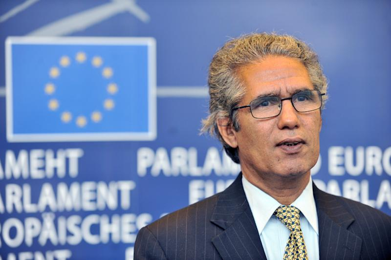 Minister of Foreign Affairs of the Polisario Front separatist movement in the Western Sahara (RASD) Mohamed Salem Ould Salek speaks to the press on December 1, 2010 at the EU headquarters in Brussels