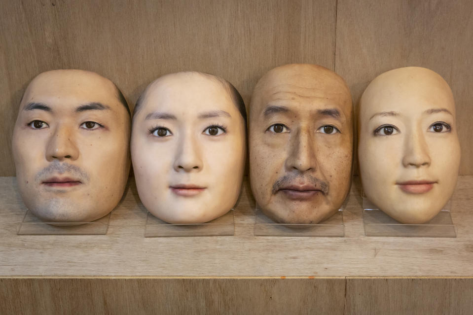 TOKYO, JAPAN - JANUARY 28: Hyper-realistic face masks are pictured on January 28, 2021 in Tokyo, Japan. The masks, made by Japanese retailer Kamenya Omote, are modelled on actual people who are paid 40,000 Yen for the right to use their face and are created on a 3D printer before being sold for up to 98,000 Yen. Although providing quite a party piece, unfortunately they don't offer protection from coronavirus. (Photo by Yuichi Yamazaki/Getty Images)