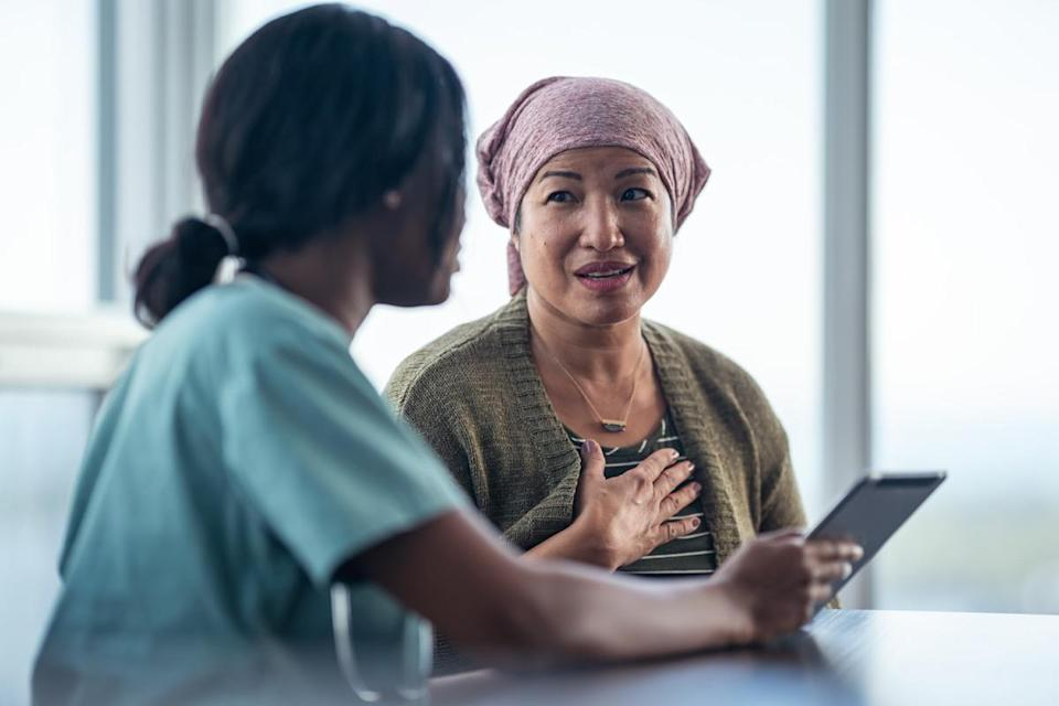 """<span>Whether it's on your breast or on your nipple, a sore that won't seem to heal is something to pay close attention to. """"It may be a sign of Paget's disease of the breast, a rare form of breast cancer,"""" says A</span><span>lvarez</span><span>. """"This disease originates in the nipple. It's not usually invasive and is most commonly diagnosed in patients in their 70s and 80s."""" And for warning signals of other types of serious conditions, check out <a href=""""https://www.msn.com/en-us/news/other/these-are-all-of-the-cancer-warning-signs-hiding-in-plain-sight/ss-AAC37kg"""" rel=""""nofollow noopener"""" target=""""_blank"""" data-ylk=""""slk:These Are All of the Cancer Warning Signs Hiding in Plain Sight"""" class=""""link rapid-noclick-resp"""">These Are All of the Cancer Warning Signs Hiding in Plain Sight</a>. </span>"""