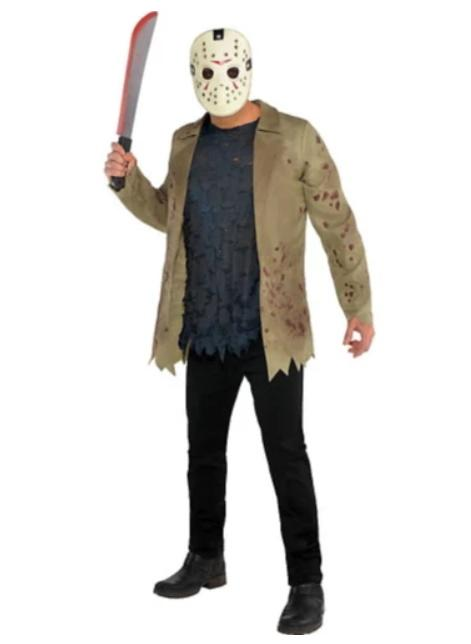 Man dressed in Friday the 13th Jason Voorhees mask and jacket