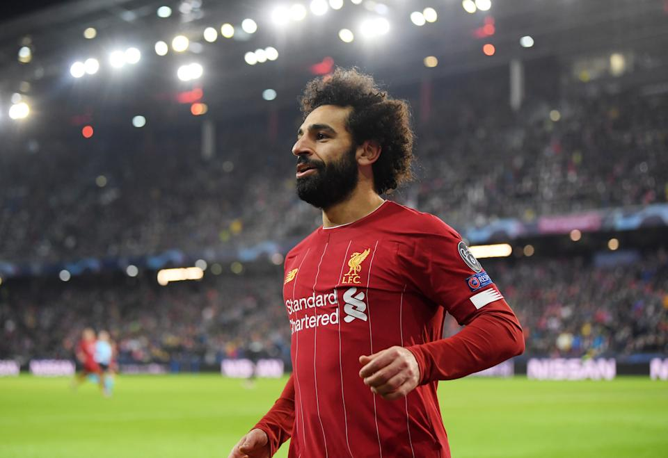 SALZBURG, AUSTRIA - DECEMBER 10: Mohamed Salah of Liverpool celebrates after he scores his team's second goal  during the UEFA Champions League group E match between RB Salzburg and Liverpool FC at Red Bull Arena on December 10, 2019 in Salzburg, Austria. (Photo by Michael Regan/Getty Images)