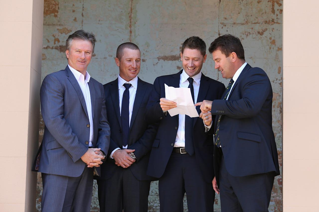 SYDNEY, AUSTRALIA - APRIL 24:  (L-R) Former Australian captain Steve Waugh, Brad Haddin of Australia, Australian captain Michael Clarke, and former Australian captain Mark Taylor talk during the 2013 Australian Ashes squad announcement at The Mint on April 24, 2013 in Sydney, Australia.  (Photo by Cameron Spencer/Getty Images)