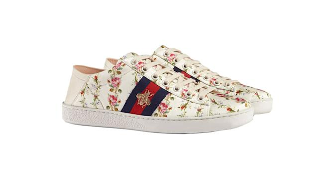 "<p>Ace Rose Print Sneaker, $595, <a href=""https://www.gucci.com/us/en/pr/women/womens-shoes/womens-sneakers/ace-rose-print-sneaker-p-470011K42809065?position=11&listName=ProductGridComponent&categoryPath=Women/Womens-Shoes/Womens-Sneakers"" rel=""nofollow noopener"" target=""_blank"" data-ylk=""slk:gucci.com"" class=""link rapid-noclick-resp"">gucci.com</a> </p>"