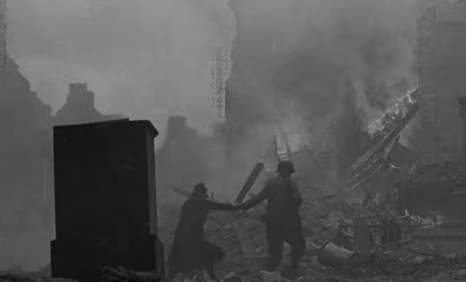 A picture of London during the Blitz from the trailer for 'Five Came Home'. (Credit: Netflix)