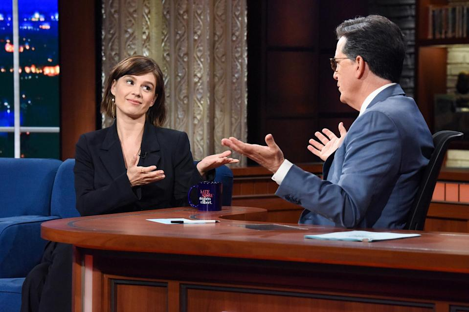 <p>Katja Herbers guest stars on <em>The Late Show with Stephen Colbert</em> on June 28 in N.Y.C.</p>