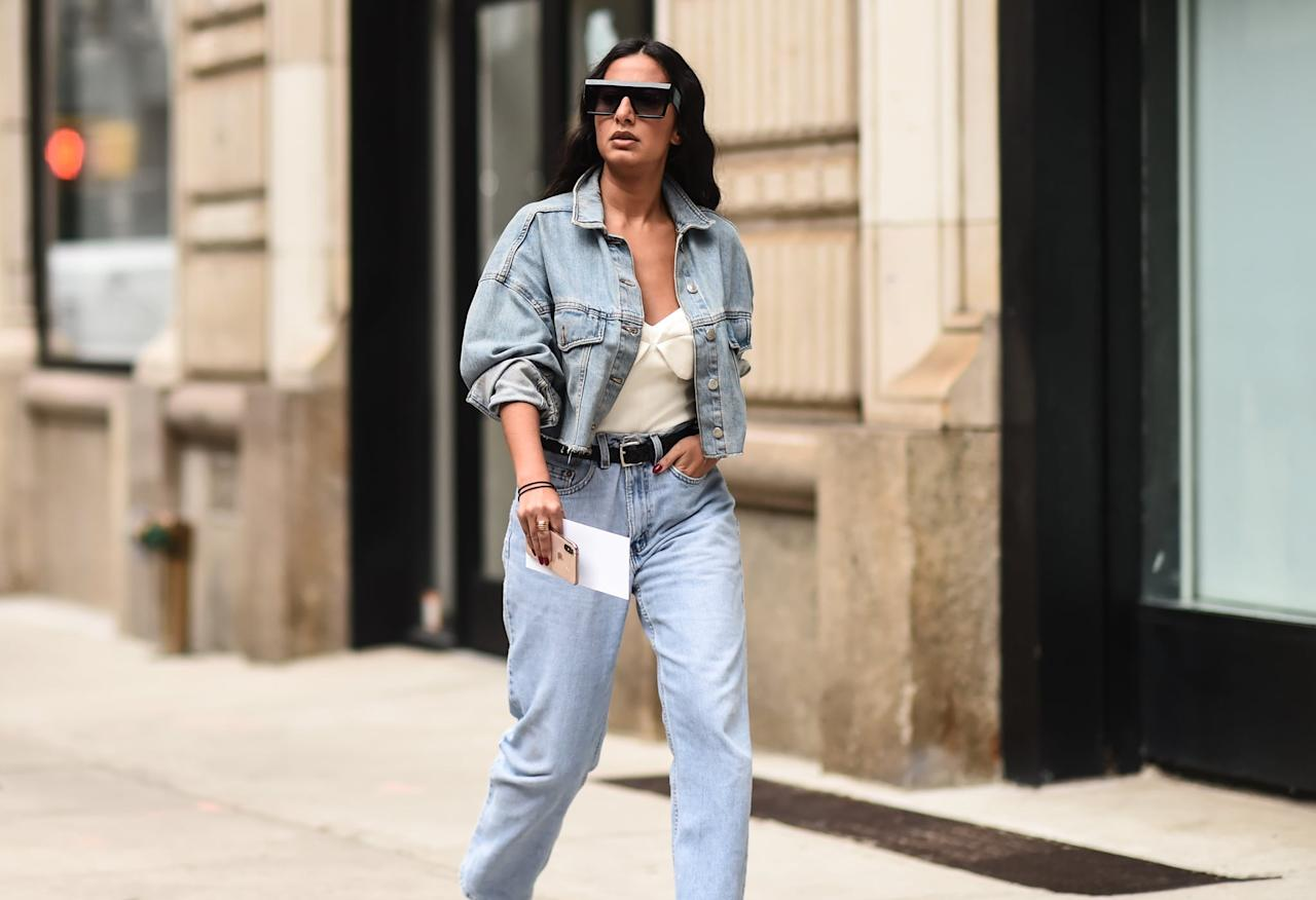 <p>Pair one with a white bodysuit, oversize sunglasses, and mom jeans.</p>