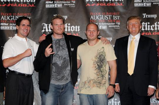 Cuban and Trump with mixed-martial-arts fighters Josh Barnett and Fedor Emelianenko at a press conference announcing an MMA event in 2009. (Photo: George Napolitano/FilmMagic/Getty Images)