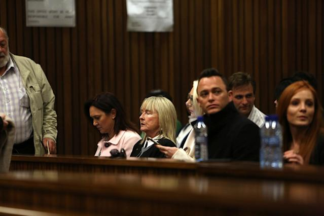 June Steenkamp is seated in court during the third day of Oscar Pistorius's resentencing hearing for the 2013 murder of his girlfriend Reeva Steenkamp, in the North Gauteng High Court in Pretoria, South Africa June 15, 2016. REUTERS/Alon Skuy/Pool