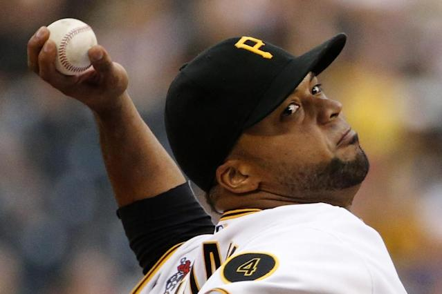 Pittsburgh Pirates starting pitcher Francisco Liriano delivers during the first inning of a baseball game against the Los Angeles Dodgers in Pittsburghm Wednesday, July 23, 2014. (AP Photo)