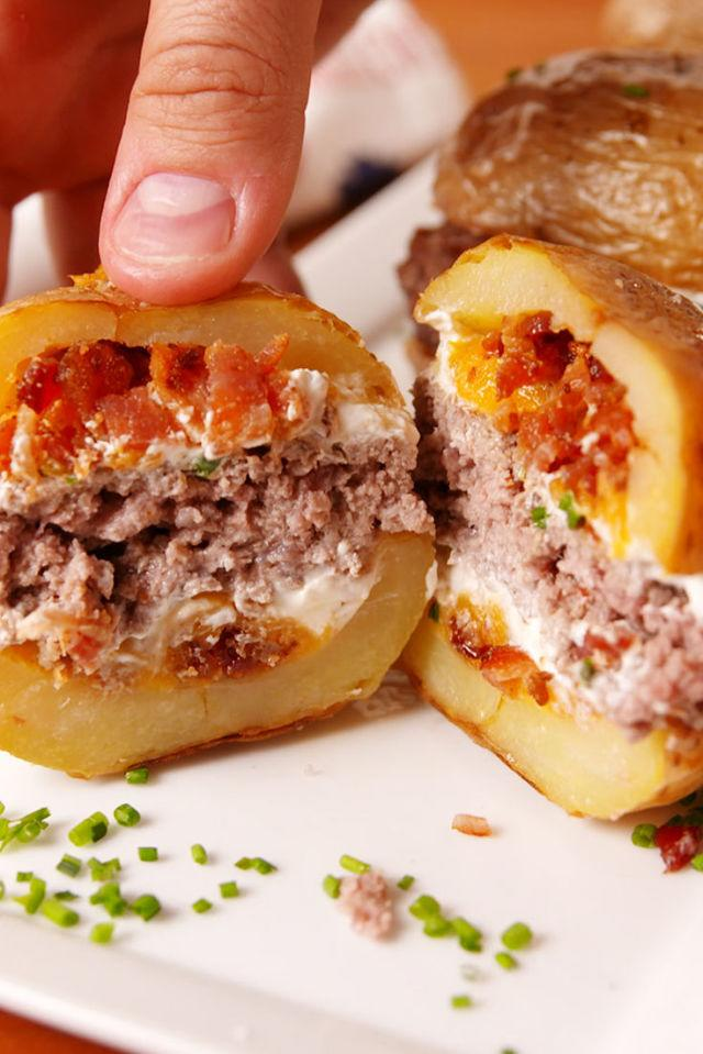 """<p>Potato skins + burger = BLISS.</p><p>Get the recipe from <a rel=""""nofollow"""" href=""""http://www.delish.com/cooking/recipe-ideas/recipes/a53815/potato-skin-burgers-recipe/"""">Delish</a>.</p>"""