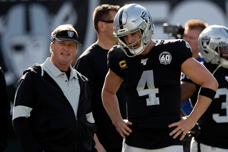 Coach Jon Gruden and quarterback Derek Carr aren't having a great finish to the 2019 season. (Photo by Jason O. Watson/Getty Images)