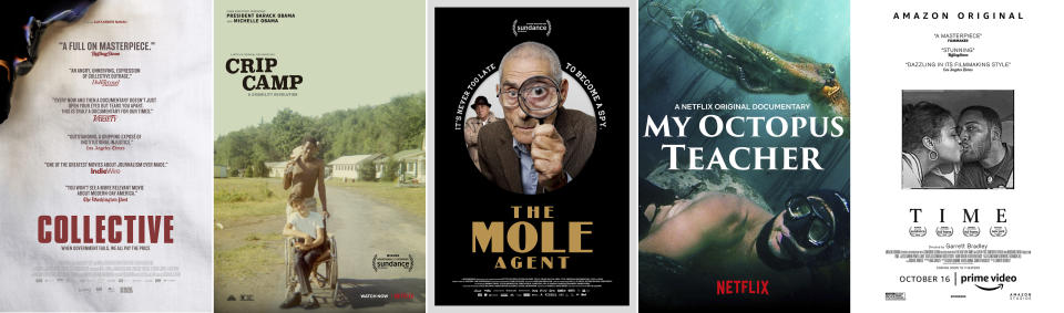 "This combination of photos shows poster art for Oscar nominees for the documentary feature category, from left, ""Collective,"" ""Crip Camp,"" ""The Mole Agent,"" ""My Octopus Teacher,"" and ""Time."" (Magnolia Pictures/Netflix/Gravitas Pictures/Netflix/Amazon Studios via AP)"