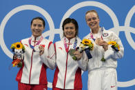 Shi Tingmao of China, gold medal, center, Wang Han of China silver medal, left, and Krysta Palmer of the United States' bronze medal pose for a photo after women's diving 3m springboard final at the Tokyo Aquatics Centre at the 2020 Summer Olympics, Sunday, Aug. 1, 2021, in Tokyo, Japan. (AP Photo/Dmitri Lovetsky)