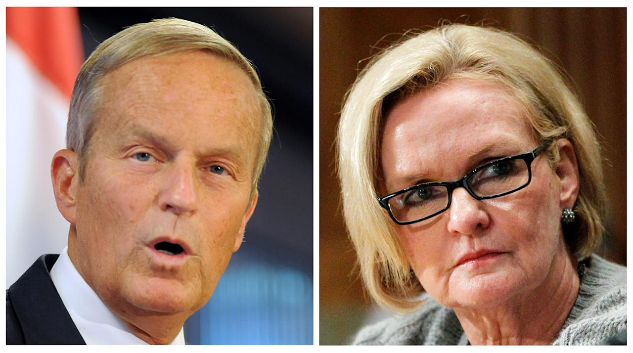 "FILE - This photo combo shows U.S. Rep. Todd Akin, R-Mo., left, and Sen. Claire McCaskill, D-Mo. The razor-thin race for the White House has overshadowed the fight for control of Congress. But the stakes are high in the Senate contests. In Missouri, Akin was deserted by the Republican establishment after he remarked in August that women's bodies have ways of avoiding pregnancy in cases of what he called ""legitimate rape."" He has fallen behind McCaskill, who had been considered the most vulnerable Democratic incumbent. (AP Photo/Sid Hastings, Manuel Balce Ceneta, File)"
