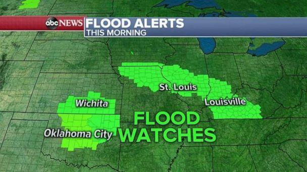 PHOTO: Flooding is possible in northern Oklahoma and southern Kansas, as well as through five states in the Midwest. (ABC News)