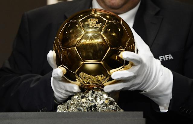The Ballon d'Or trophy for best soccer player of the year is presented at the FIFA Ballon d'Or awarding ceremony in Zurich, Switzerland, Monday, Jan. 13, 2014. (AP Photo/Keystone,Steffen Schmidt)