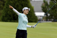 So Yeon Ryu, of South Korea, reacts to her shot on the 18th fairway during the first round of the LPGA Walmart NW Arkansas Championship golf tournament, Friday, Sept. 24, 2021, in Rogers, Ark. (AP Photo/Michael Woods)