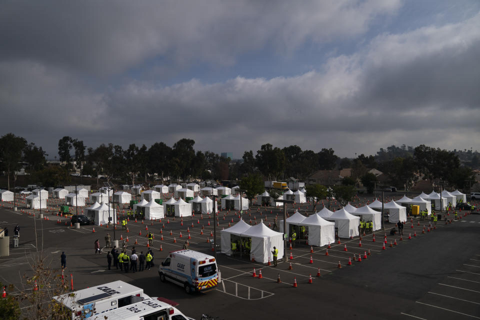 A federally-run COVID-19 vaccination site is seen on the campus of California State University of Los Angeles in Los Angeles, Calif., Tuesday, Feb. 16, 2021. (AP Photo/Jae C. Hong)