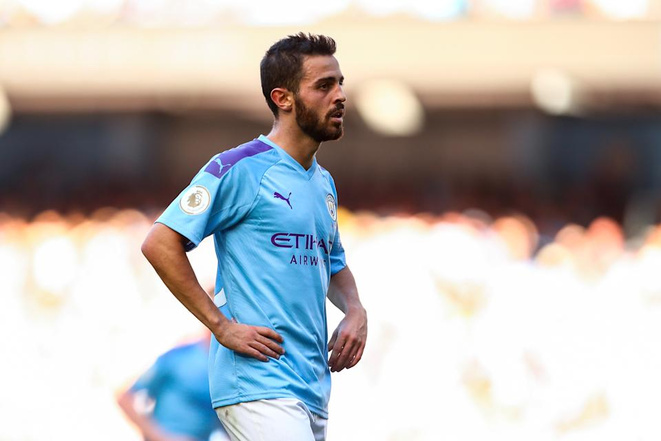 MANCHESTER, ENGLAND - SEPTEMBER 21: Bernardo Silva of Manchester City during the Premier League match between Manchester City and Watford FC at Etihad Stadium on September 21, 2019 in Manchester, United Kingdom. (Photo by Robbie Jay Barratt - AMA/Getty Images)