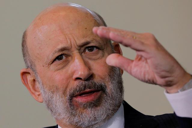 Lloyd Blankfein, CEO of Goldman Sachs, speaks at the Boston College Chief Executives Club luncheon in Boston, MA, U.S., March 22, 2018. REUTERS/Brian Snyder
