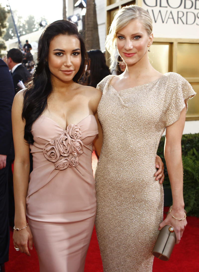 Naya Rivera, Heather Morris arrive at the 68th Annual Golden Globe Awards held at the Beverly Hilton Hotel on January 16, 2011 (Photo by Trae Patton/NBCU Photo Bank/NBCUniversal via Getty Images via Getty Images)