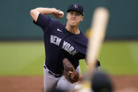 New York Yankees' Jameson Taillon delivers during the second inning of a spring training exhibition baseball game against the Pittsburgh Pirates at LECOM Park in Bradenton, Fla., Saturday, March 6, 2021. (AP Photo/Gene J. Puskar)