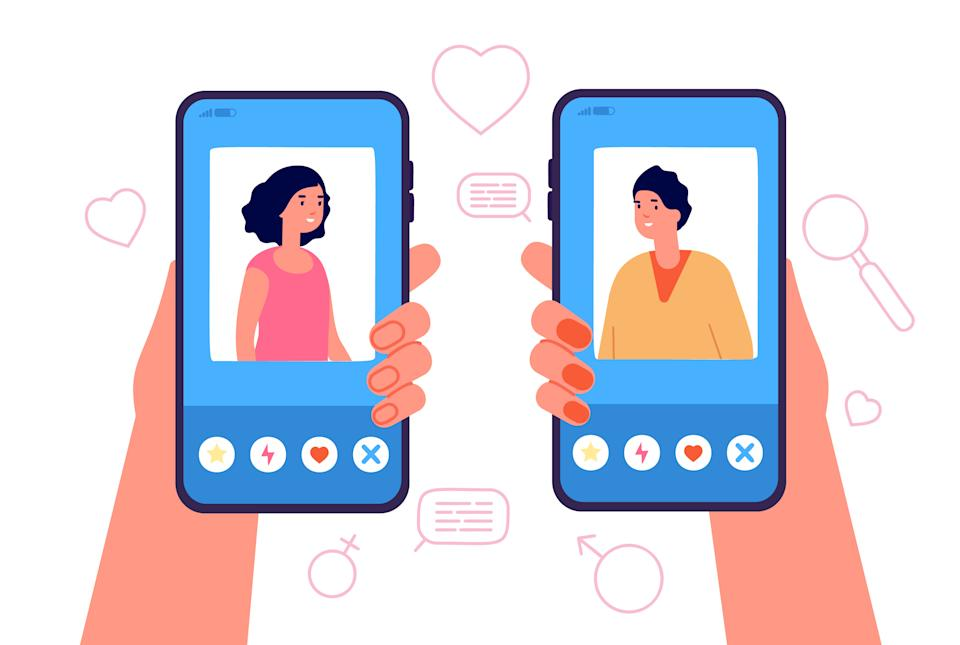 Mobile dating concept. Romantic app, man woman online relationship. Female male internet media profile, hand holding phone vector concept. Illustration connection love application
