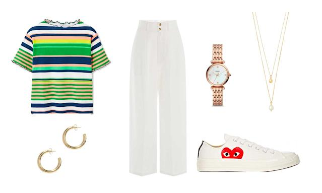 Add a color-striped tee to spice up a classic white ensemble.