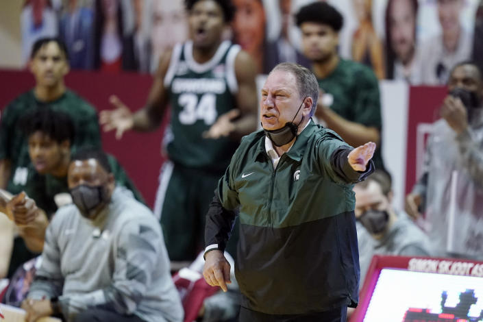 Michigan State head coach Tom Izzo shouts during the second half of an NCAA college basketball game against Indiana, Saturday, Feb. 20, 2021, in Bloomington, Ind. Michigan State won 78-71. (AP Photo/Darron Cummings)