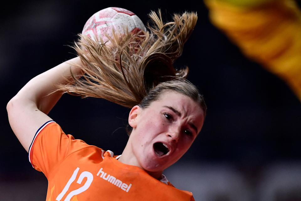 <p>Netherlands' left wing Bo van Wetering shoots during the women's preliminary round group A handball match between The Netherlands and Montenegro of the Tokyo 2020 Olympic Games at the Yoyogi National Stadium in Tokyo on August 2, 2021. (Photo by Fabrice COFFRINI / AFP) (Photo by FABRICE COFFRINI/AFP via Getty Images)</p>