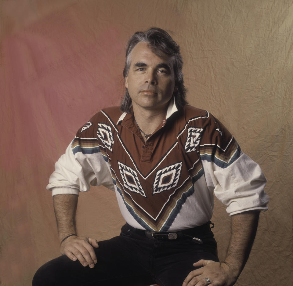 Hal Ketchum poses for a photo wearing a Western-inspired shirt and black jeans at Farm Aid in Dallas, Texas, March 14, 1992.