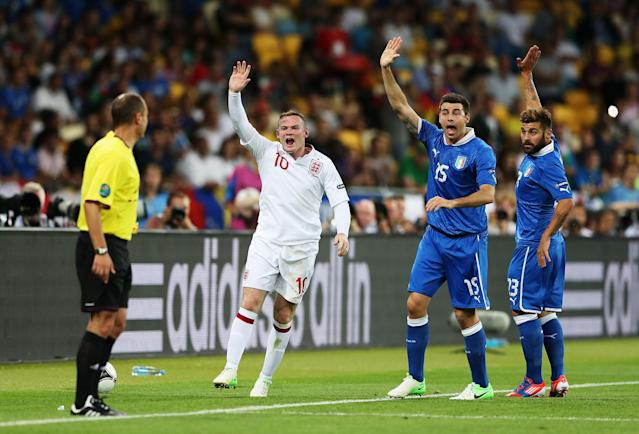 KIEV, UKRAINE - JUNE 24: Wayne Rooney of England reacts during the UEFA EURO 2012 quarter final match between England and Italy at The Olympic Stadium on June 24, 2012 in Kiev, Ukraine. (Photo by Scott Heavey/Getty Images)