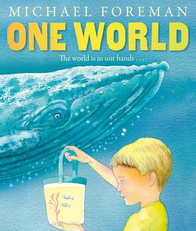 """One World"" illustrates concerns about pollution through the story of siblings spending a day at the seashore. <i>(Available <a href=""https://www.amazon.com/One-World-Michael-Foreman/dp/1849393044"" target=""_blank"" rel=""noopener noreferrer"">here</a>)</i>"