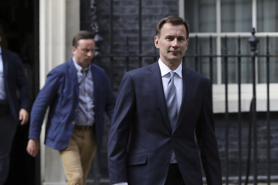 """Britain's Foreign Secretary Jeremy Hunt leaves 10 Downing Street, following a meeting held over British oil tanker Stena Impero which was captured by Iran, Saturday July 20, 2019. Hunt has said Britain's response to Iran's seizure of a British-flagged ship in the Strait of Hormuz """"will be considered but robust.""""(Aaron Chown/( / PA via AP)"""