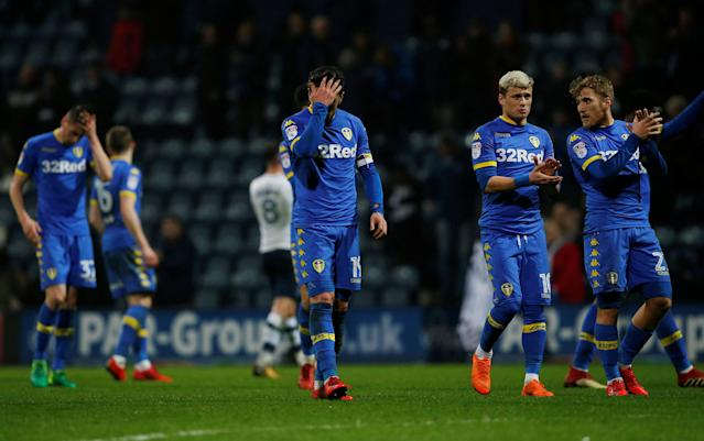 "Soccer Football - Championship - Preston North End vs Leeds United - Deepdale, Preston, Britain - April 10, 2018 Leeds United players look dejected after the match Action Images/Craig Brough EDITORIAL USE ONLY. No use with unauthorized audio, video, data, fixture lists, club/league logos or ""live"" services. Online in-match use limited to 75 images, no video emulation. No use in betting, games or single club/league/player publications. Please contact your account representative for further details."