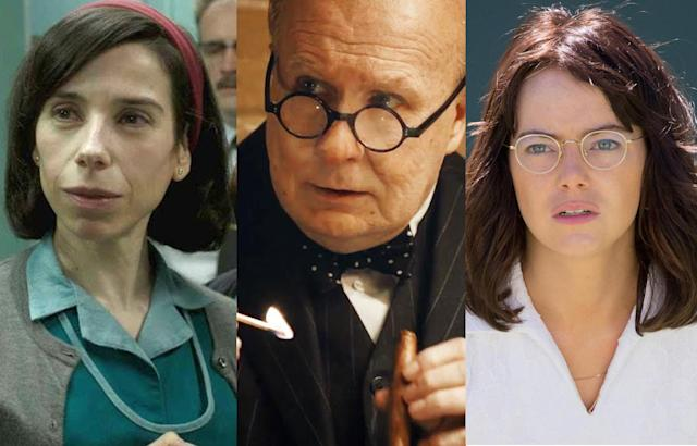 Sally Hawkins in <em>The Shape of Water</em>, Gary Oldman in <em>Darkest Hour</em>, Emma Stone in <em>Battle of the Sexes.</em> (Photos: Fox Searchlight/Focus)