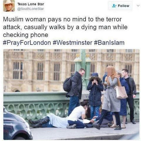 Russian bot behind false claim Muslim woman ignored victims of Westminster terror attack