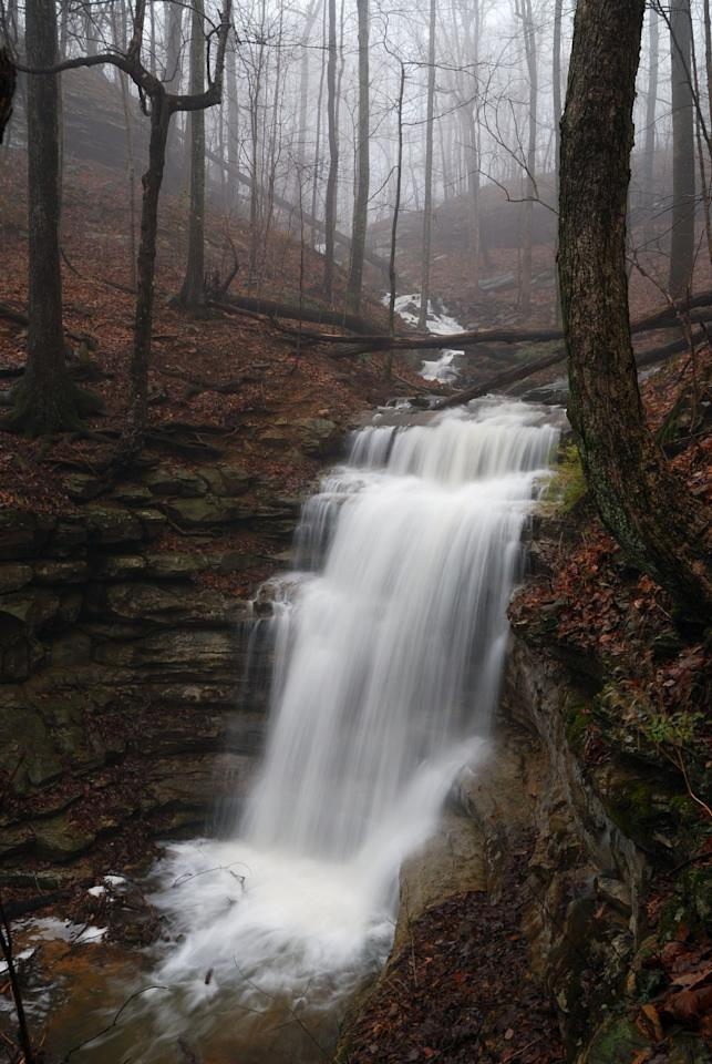 """<p>Set in the heart of Green Mountain Nature Preserve, this <a href=""""https://www.alltrails.com/trail/us/alabama/alum-hollow-trail-green-mountain-nature-preserve"""" target=""""_blank"""">2.2-mile trail</a> leads to a rushing tiered waterfall. It's accessible for hikers of all levels, including four-legged furry friends (as long as they're on a leash). </p>"""