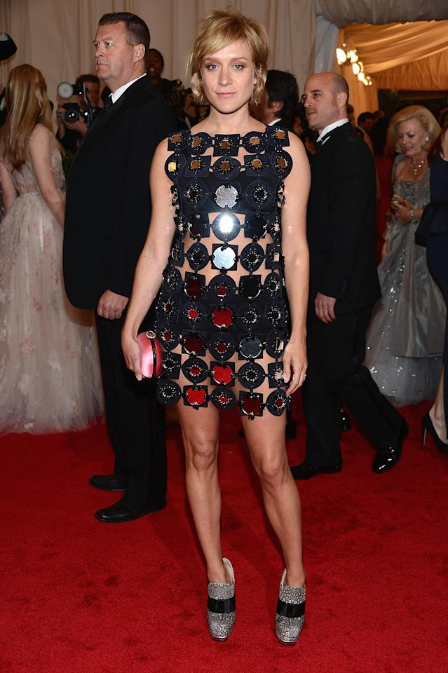 """Big Love"" Golden Globe winner Chloe Sevigny went all out for the 2012 Met Gala in a cutout Miu Miu little black dress."