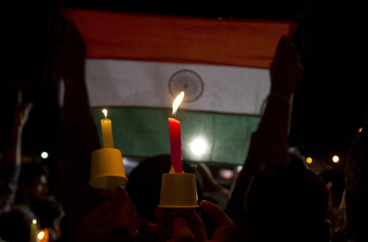 <p>Members of Telangana Jagruthi participate in a candle light march in honor of Indian soldiers killed along the India-Pakistan border, in Hyderabad, India, Tuesday, May 2, 2017. Two Indian soldiers were killed and their bodies mutilated Monday in an ambush by Pakistani soldiers along the highly militarized de facto border that divides the disputed region of Kashmir between the nuclear-armed rivals, the Indian army said. But Pakistan denied any such attack, calling the Indian claims false. (AP Photo /Mahesh Kumar A.) </p>